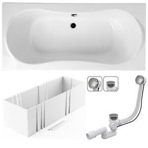 vbcbad badewanne rechteck 170 180x80 wei tr ger ablaufgarnitur standy f e wt ebay. Black Bedroom Furniture Sets. Home Design Ideas