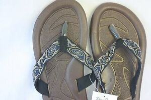 Sandals-STAR-Bay-Sandals-Brown-With-Printed-Fabric-Straps-NEW-SZ-12