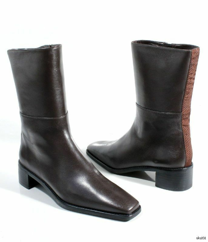 New STUART WEITZMAN 'Harrison' brown nappa leather zipper FLAT ANKLE BOOTS 11