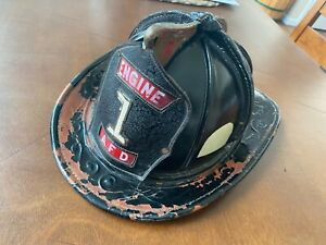 ANTIQUE-VINTAGE-CAIRNS-NEW-YORKER-LEATHER-FIREFIGHTING-FIRE-HELMET-SIZE-7-1-8