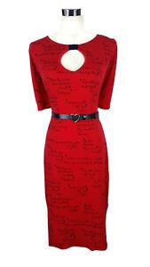 LEONA-EDMISTON-Dress-Vintage-Style-Red-Black-Poetry-Writing-Love-Belt-SzXS-8