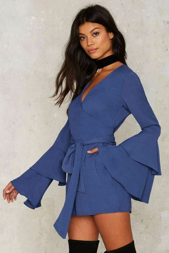 Tea & Cup By Nasty Gal Tier of Life Wrap Romper Size S NGJ