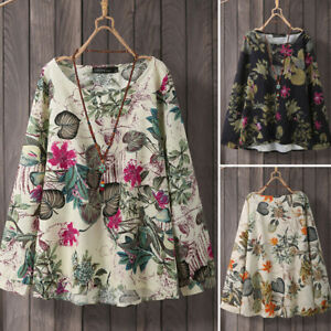 ZANZEA-Women-Casual-Holiday-Loose-Tops-Floral-Oversized-Cotton-Shirt-Blouse-Tee