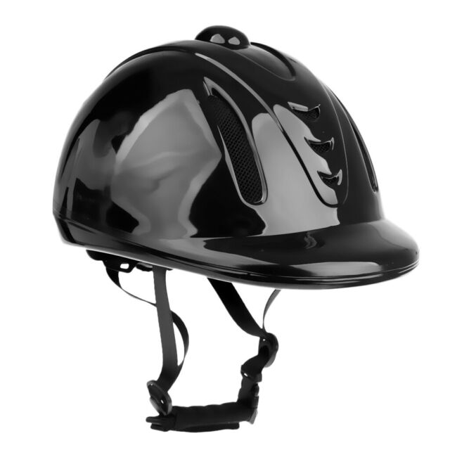 Kids Child Adjustable Horse Riding Hat Ventilated Safety Velvet Helmet Black