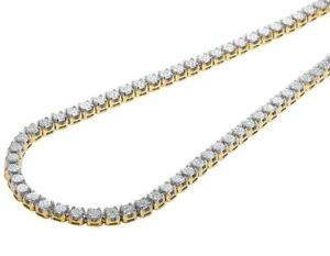 5dc6915784e58 Details about Mens 10K Yellow Gold Genuine Diamond 6MM Cluster Tennis Chain  Necklace 10 Ct 24