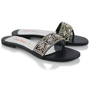 Sandalias-De-Mujer-Slip-On-Diamante-senoras-Black-Toe-Post-Plana-Slider-Mulas-Zapatos