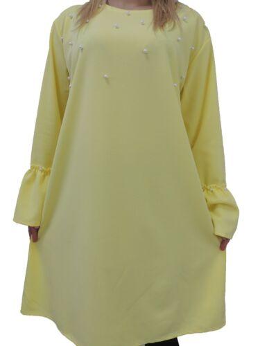 Long Shirts Kunstperlen Größe 48 50 52 54 Übergröße Langarmshirt Langarm t