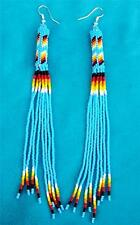 """""""TURQUOISE BLUE PEYOTE STITCHED"""" LONG NATIVE BEADED EARRINGS"""