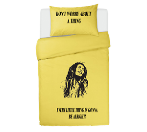 One Love Bob Marley Bedding Set Single Or Double Duvet Yellow Zest