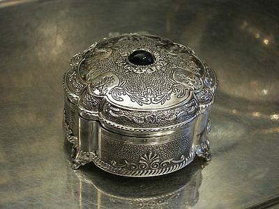 Silver Plated Jewellery Box With Black Gem For Necklaces Earrings Antique