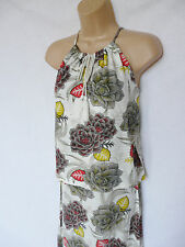 NEXT new BNWT summer halterneck floral ecru cotton slub jersey maxi dress 6/8