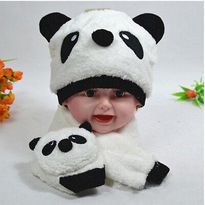 Baby Children bays girls Kids Cute Panda Warm Hats Cap Scarf For Spring Winter