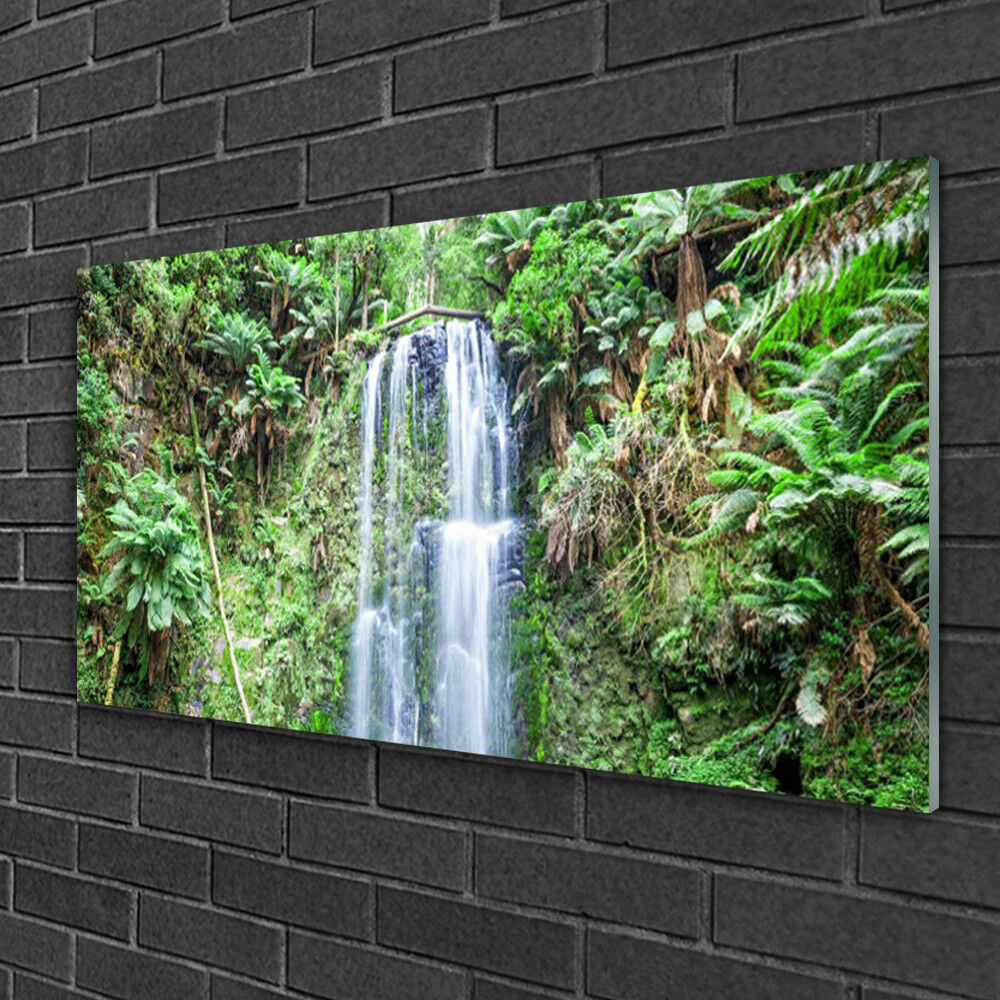 Tableau sur verre Image Impression 100x50 Nature Arbres Cascade