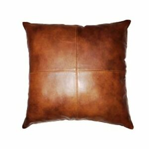 """Genuine Leather Pillow Cover Black 18""""x18"""" New"""