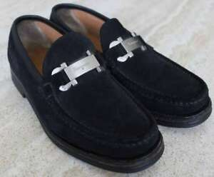 7d878b69132 Image is loading SALVATORE-FERRAGAMO-BLACK-SUEDE-LEATHER-LOAFERS-SHOES-MEN-