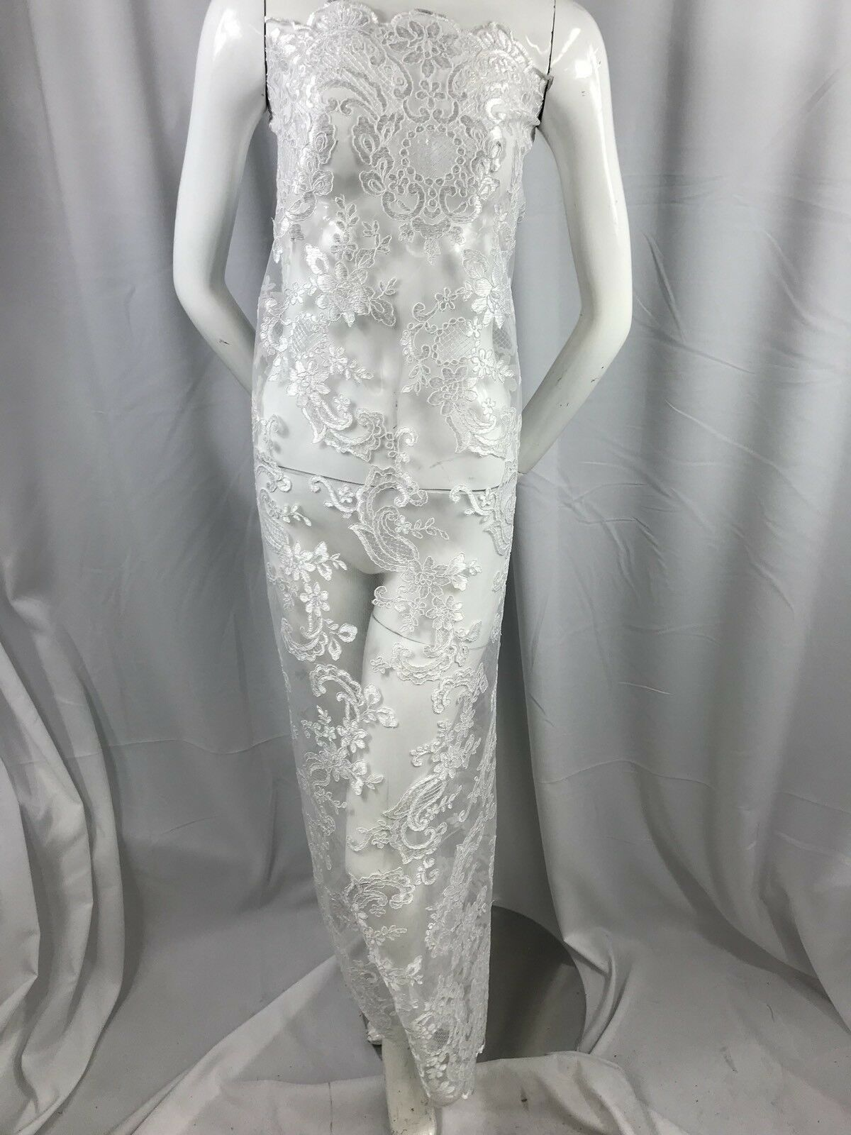 White Flower Mesh Dress Embroidered Bridal Wedding By The Yard Lace fabric