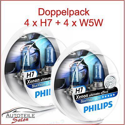 2x Philips BlueVision DUO ultra 2x H7 4000k Xenon Effekt + 2x W5W BVU 12972BVU e