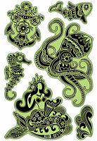 Mermaid Caribbean Sea Unmounted Cling Rubber Stamp Set Inkadinkado 60-60325