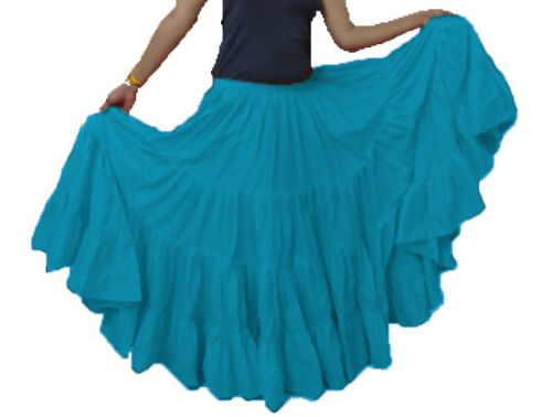 SKY BLUE Cotton Tribal Fusion Gypsy 25 Yard 4 Tier Skirt Belly Dancing ATS JUPE