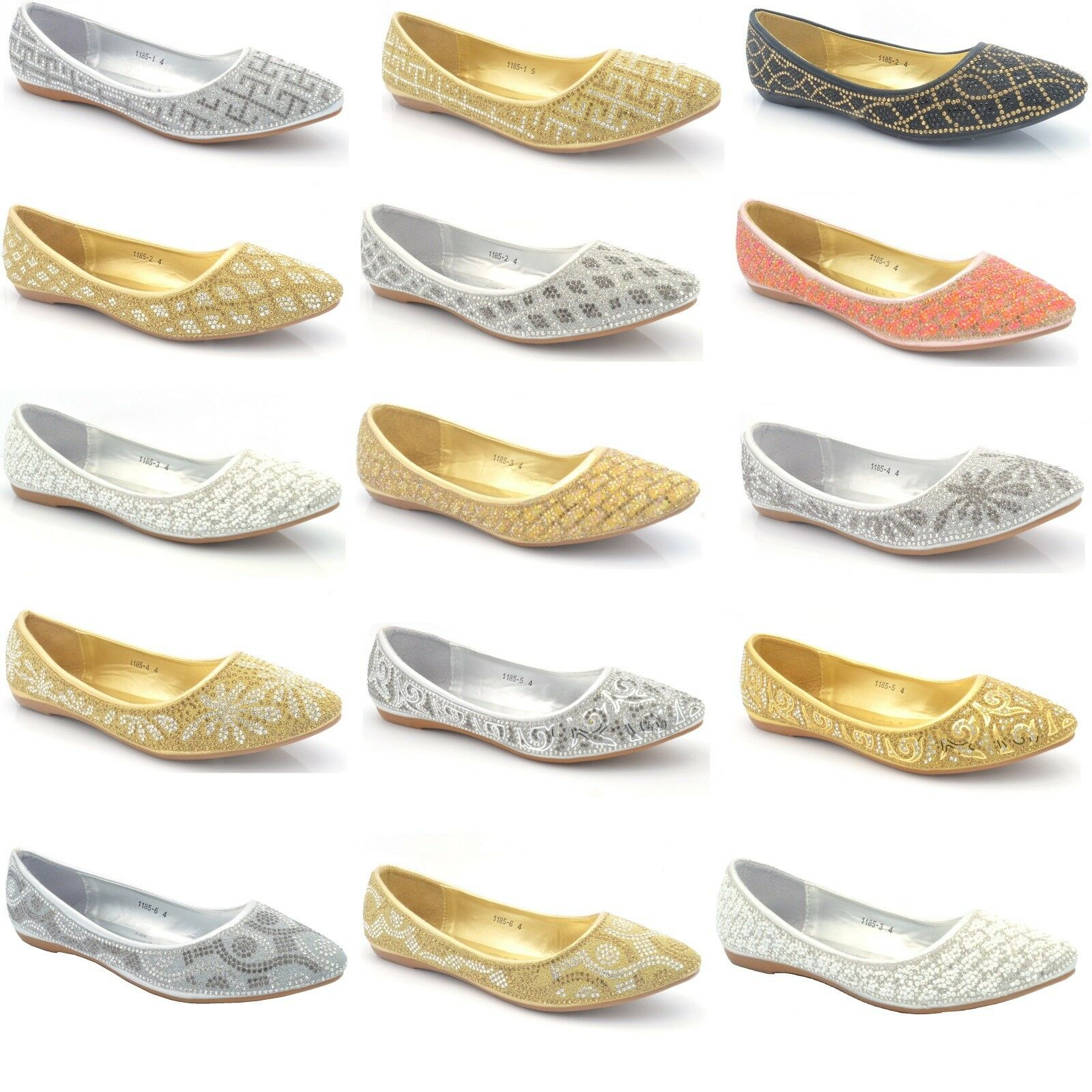 New Womens Diamante Ballet Flats Ladies Casual Party Ballerina Dolly Pumps Shoes