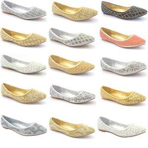 Femmes Dames Escarpins Ballerines Strass Nœud Paillettes Ballerine Dolly Chaussures