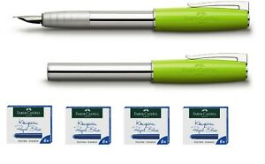 Faber-Castell Füllhalter LOOM Limette B Tinte 4Pack a 6 Patronen