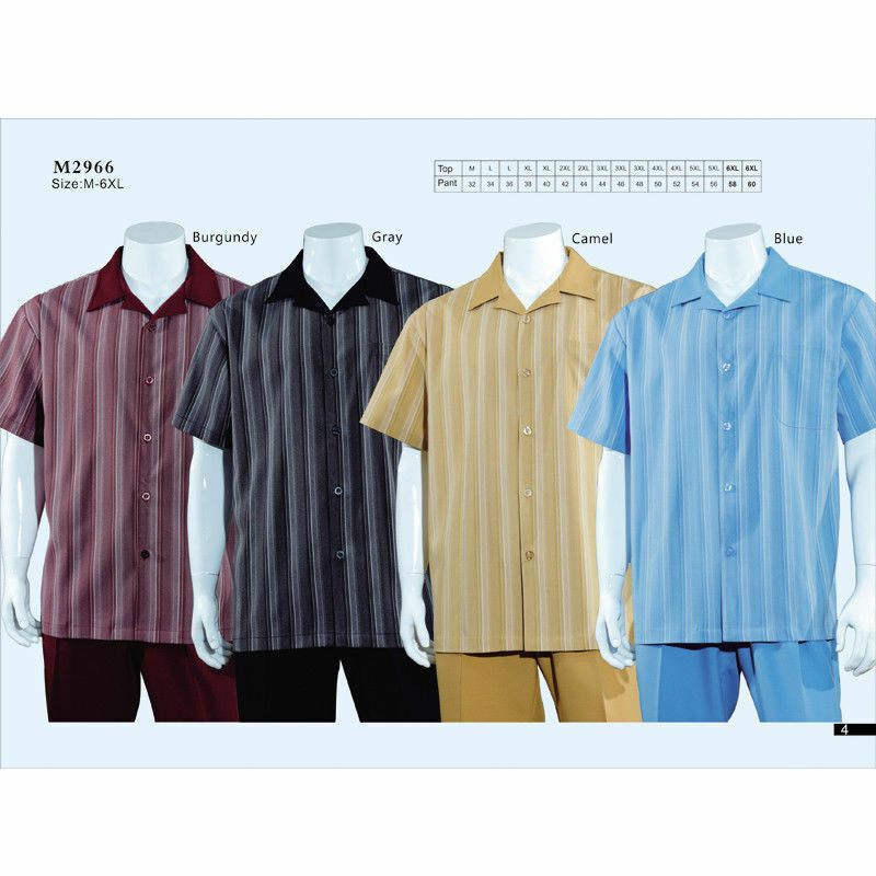 Men's Summer 2-PC Casual set, Shirt & Pants Set, Walking Suit Striped Design