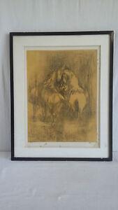 LEBADANG-Lithographie-signe-epreuve-d-039-artiste-034-Deux-Chevaux-Jaunes-034
