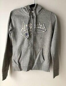 Women/'s Jacket Sweatshirt Size XS Gray Full Zip Hoodie Top Aeropostale