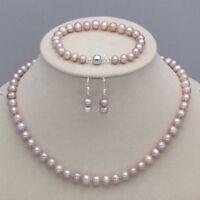 7-8mm Purple Freshwater Pearl Necklace Bracelet Earrings Jewelry Set JN22