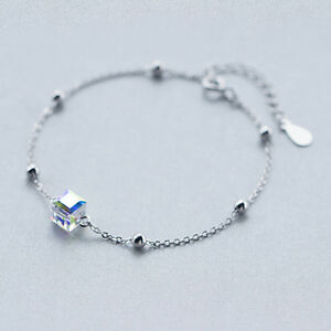 925-Silver-Austrian-Crystals-Beads-Chain-Bracelets-amp-Bangles-for-Women-Jewelry