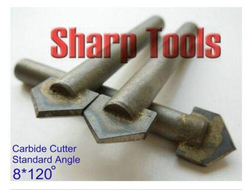 10pcs//lot V CNC Bits 120 Standard Angle 8mm Shank Stone//Granite//Marble
