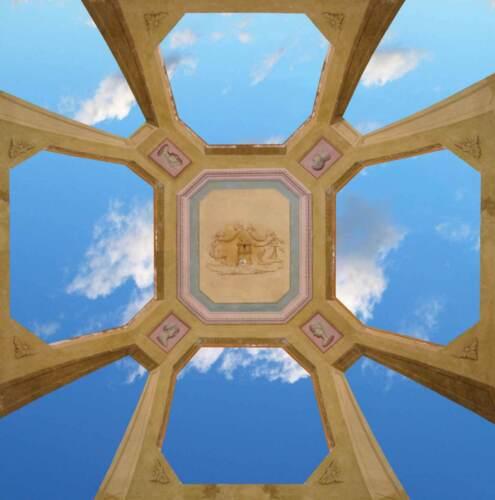 Sticker Trompe L/'oeil Adesivo Lucernaio con struttura in pietra decorata e cielo