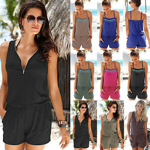 Womens-Mini-Playsuit-Loose-Jumpsuit-Summer-Beach-Shorts-Dress-Romper-Clubwear
