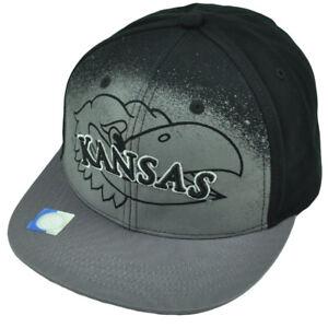 NCAA Kansas Jayhawks Black Hat Cap Gray Flat Bill Adjustable Printed Logo KU