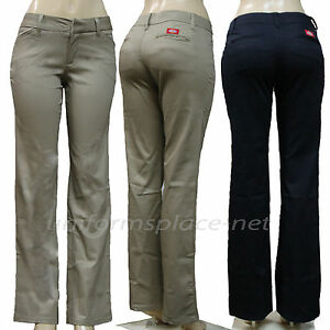 6622debfbd0 Dickies Pants Womens Junior Slim Fit Stretch Twill 4 Pocket Bootcut ...