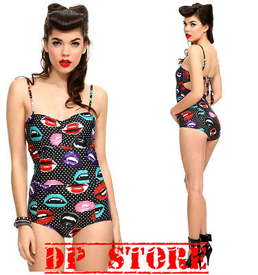 TOO FAST SWIMSUIT SWIM SUIT LIPS ONE PIECE PIN UP 50'S GOTH GOTHIC ROCKABILLY
