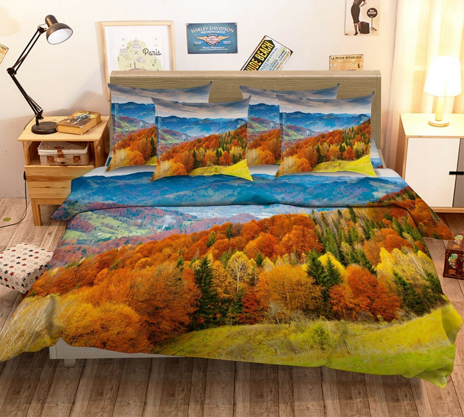 3D Autumn Forest View 2 Bed Pillowcases Quilt Duvet Cover Set Single Queen King