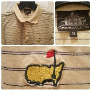 Masters-Golf-Polo-Shirt-Size-Medium-Clubhouse-Collection-Stripes-Italy