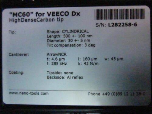 Sensor Nanotools MC60 Scanning Probes HIGH DENSE CARBON TIP VEECO Dx