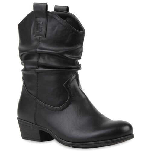 Damen Cowboy Boots Leder-Optik Stiefeletten Blockabsatz Stiefel 79785 Trendy Neu