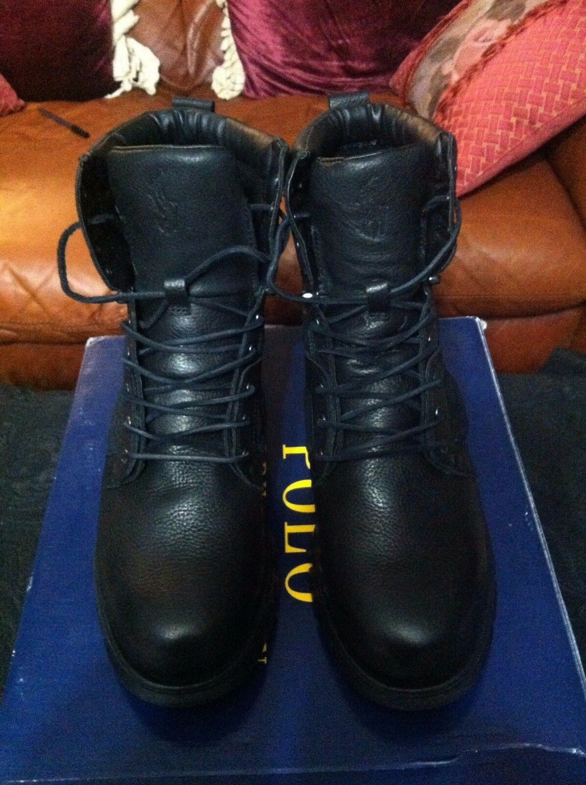 POLO RALPH LAUREN MENS NEW BLACK LEATHER SUEDE ANKLE BOOTS SIZE  11