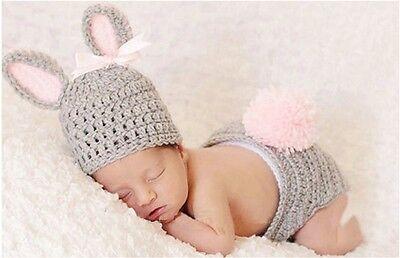 2pcs Photo Outfit Newborn Girl Newborn Boy Knit Photography Propl#Gray Rabbit