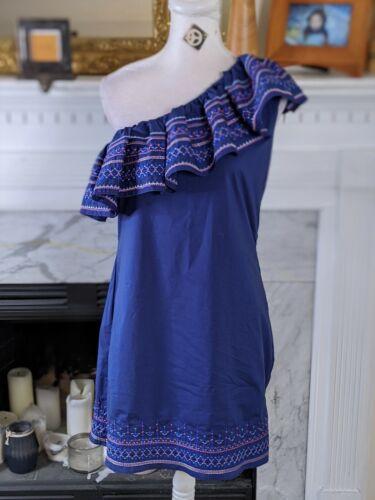 Parker Blue Embroidered Ruffle One Shoulder Dress