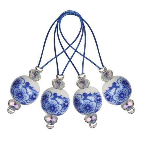 12 Blooming Blue Zooni Bead Stitch Markers Knitting Crocheting Accessories Tool