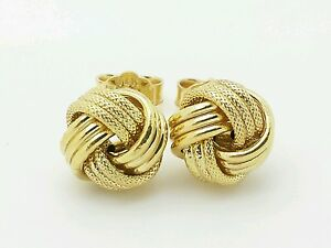 Image Is Loading 14k Italian Yellow Gold Love Knot Stud Earrings
