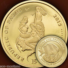 2015 Palau $1 - WHITETAIL DAMSELFISH Marine Life Protection GOLD Mermaid Coin