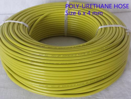 Yellow PU Polyurethane Flexible Air Tubing Pneumatic Pipe Tube Hose 6 x 4 mm