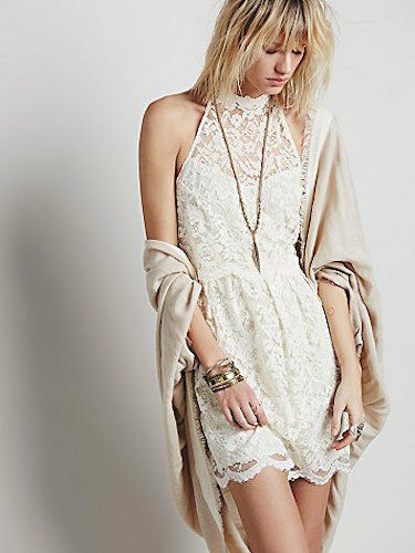 FREE PEOPLE LOST IN A DREAM TWOFER LACE IVORY DRESS 2   SFS