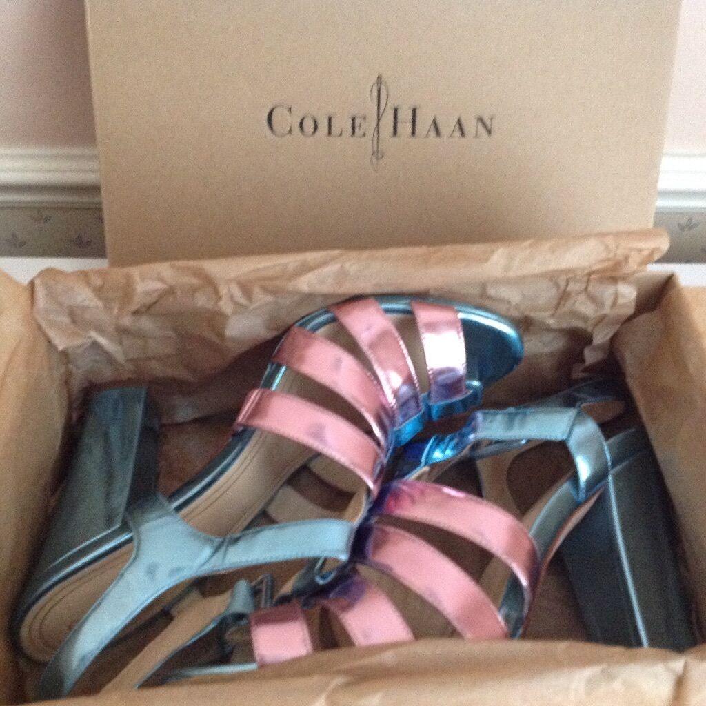 Señoras Cole Haan Azul rosado rosado rosado Correa de piel Sandalias De Plataforma Chelsea  US8 UK6  Hay más marcas de productos de alta calidad.